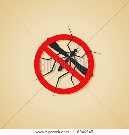 Mosquito warning sign. Silhouette of Insect, Culex pipiens isolated on brown background. Vector Illu