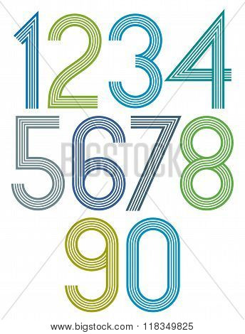 Poster Bright Large Rounded Numbers With Stripes On White Background.