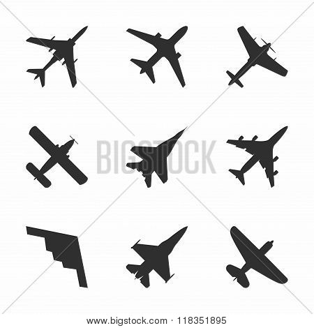 Airplane icons set: passenger plane, fighter plane and screw. Vector Illustration