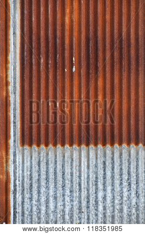 Old Bright Rust Corroded Metal Goffered Surface