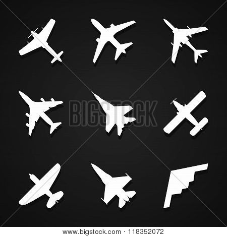 Airplane icons set: passenger plane, fighter plane and screw on dark background with shadow. Vector