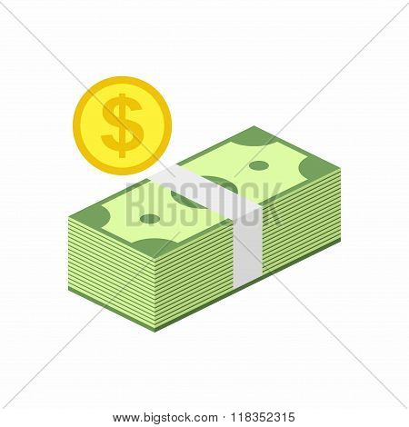 Stack of Cash and Gold Coin Icon in flat style isolated on white background. Money Vector Illustrati