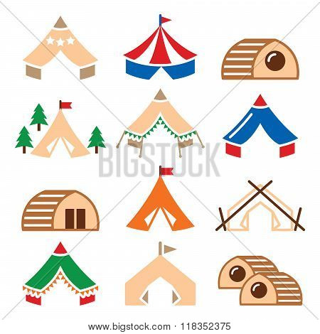 Glamping, luxurious camping tents and bambu houses icons set