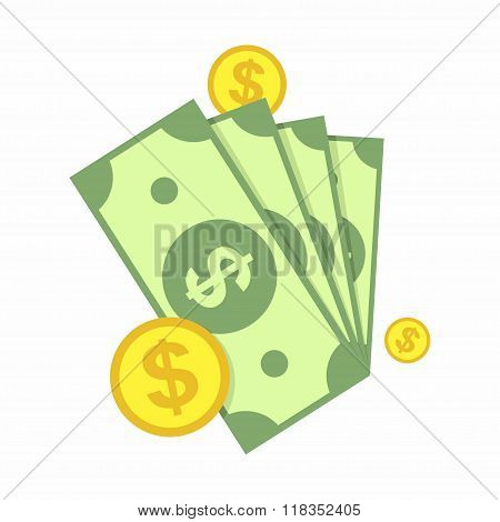 Cash, Green Dollars and Coin Icon isolated on white background. Money Vector Illustration