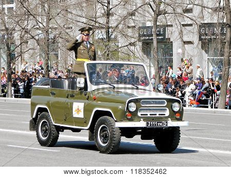 CHELYABINSK, RUSSIA - MAY 9: Russian command car UAZ 469 takes part at the annual Victory Parade on May 9, 2011 in Chelyabinsk, Russia.
