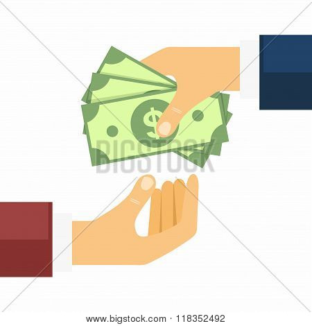 Hand giving money to other hand. Money Transfers, Buying and Selling in flat style. Vector Illustrat