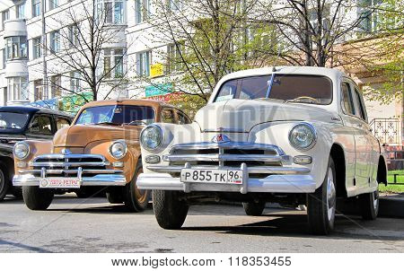 YEKATERINBURG RUSSIA - MAY 9: Soviet motor car GAZ-M20