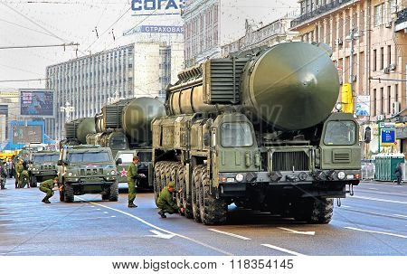 MOSCOW, RUSSIA - MAY 6: Intercontinental ballistic missiles Topol-M exhibited at the annual Victory day Parade dress rehearsal on May 6, 2012 in Moscow, Russia.