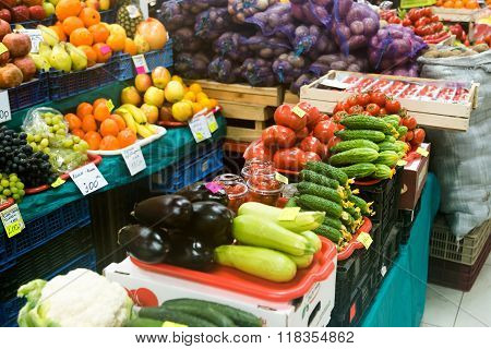 Fruits and vegetables on the counter agrarian market