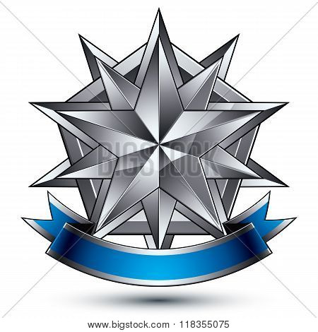 Heraldic Vector Template With Complicated Silver Star, Dimensional Royal Geometric Medallion With Bl