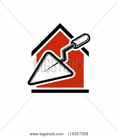 Classic Spatula Vector Icon, Build Materials. House With Work Tools, Plastering. Home Reconstruction