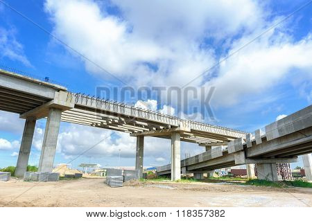 construction background, structure of bridge under construction