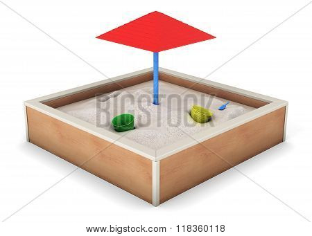 Sandbox Isolated On White Background. 3D Rendering