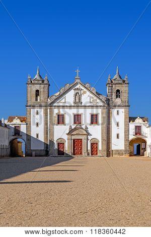 Baroque church in the Sanctuary of Nossa Senhora do Cabo, aka Nossa Senhora da Pedra Mua in Espichel Cape. Sesimbra, Portugal poster