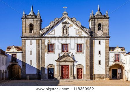 Baroque church in the Sanctuary of Nossa Senhora do Cabo, aka Nossa Senhora da Pedra Mua in Espichel Cape. Sesimbra, Portugal
