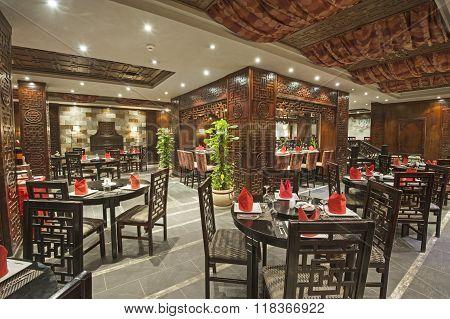 Interior Of A Luxury Hotel Restaurant