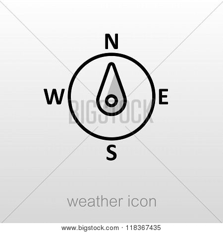 Compass Wind Rose Icon. Meteorology. Weather