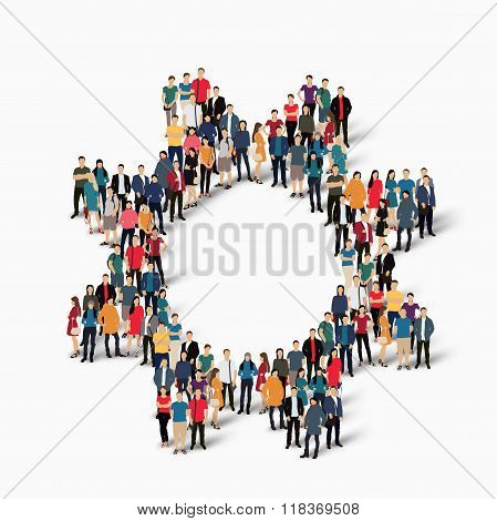 A large group of people in the form of gear . Vector illustration. poster