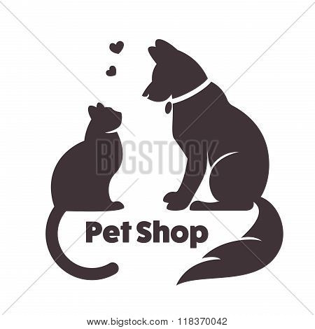 Cat and dog vector signs and logo.