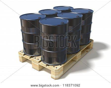 Black oil barrels on wooden euro pallet. 3D