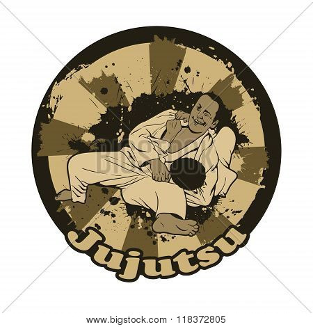Vector Illustration With Brazilian Jiu Jitsu Fighters.