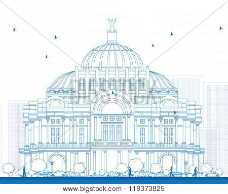 Outline The Fine Arts Palace/Palacio de Bellas Artes in Mexico City, Mexico. Vector illustration. Business Travel and Tourism Concept with Historic Building. Image for Presentation Banner Placard.