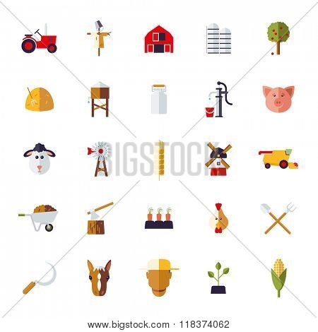 Flat Design Agriculture and Farming Icon Set. Collection of farm and agriculture vector icons on white background