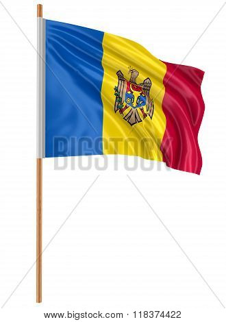3D Moldavian flag with fabric surface texture. White background.
