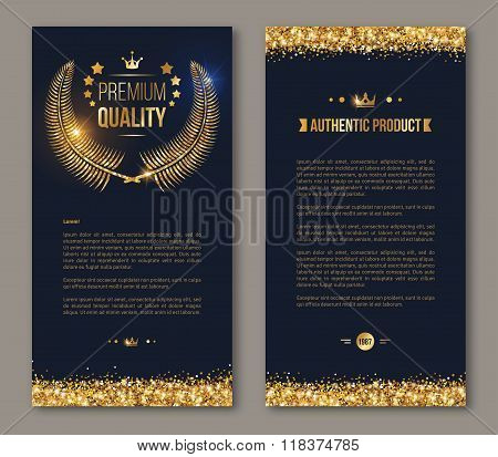 Business brochure design with golden laurel wreath