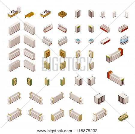 Set of isometric grocery store equipment