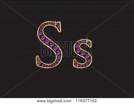 Ss Amethyst Jeweled Font With Gold Channels