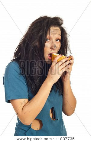 Beggar girl eating a piece of bread isolated on white background poster