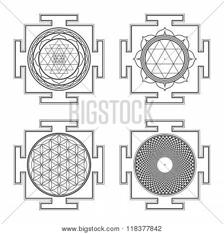 Monocrome Outline Hindu Yantra Illustrations Set.
