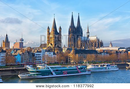 Rhine Embankment In Cologne