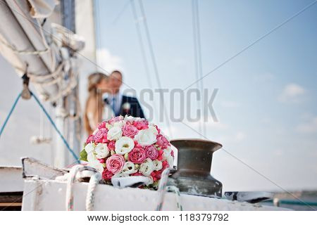 Wedding Bridal Bouquet With Pink And White Roses On A Yacht