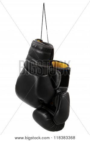 Black boxing gloves isolated on white background