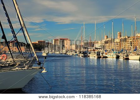 France, Marseille -november 19, 2015: Old Port (vieux-port). Marseille Is France's Largest City On T