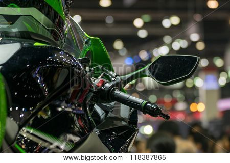 Zoom Motorcycle Handlebar In Car Show Event