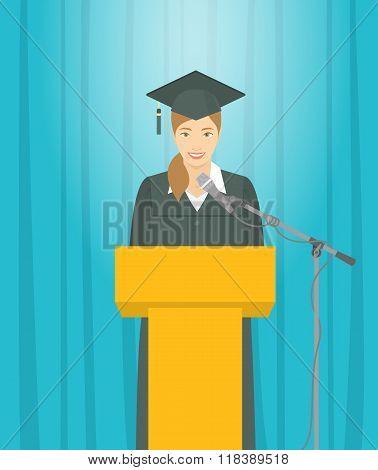 Graduation Ceremony Speech By Asian Girl Graduate At The Podium