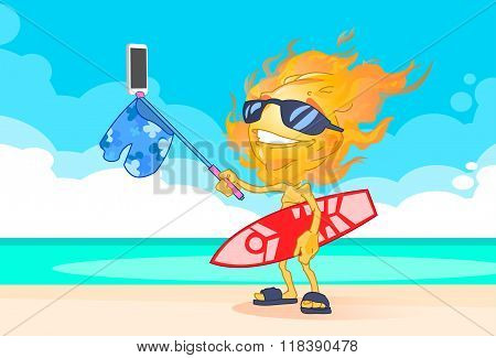 Sun Summer Boy Fire Head Taking Selfie Smart Phone Stick Hold Surfboard On Beach