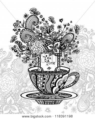 Zen-doodle cup of tea with flowers black on white