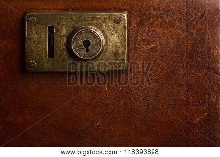 Old Locking Mechanism On A Vintage Suitcase