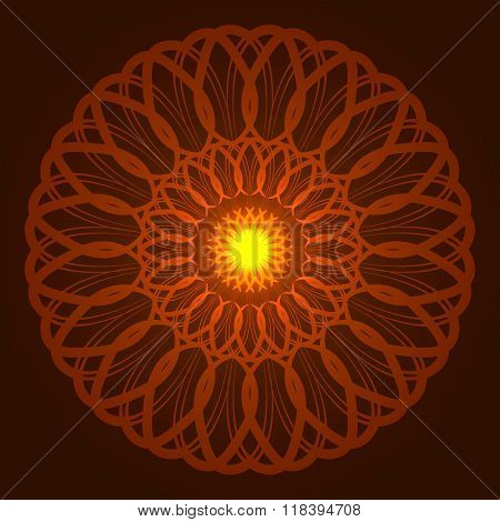Vector geometric round orange glow mandala