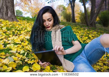 Beautiful young woman whit tablet in the autumnal park