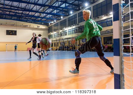 Handball Player In Action During The Greek Women Cup Final Handball Game Arta Vs Nea Ionia