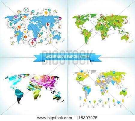 Social Network. Various shapes sparkling Pictograms set. Collection Flat Design concept with World Maps. Team Network Chatting by Social Media. Ribbon with Text