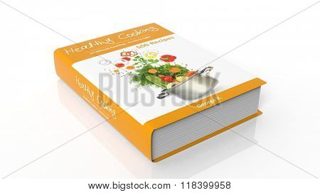 Hardcover book Healthy Cooking with illustration on cover, isolated on white background.