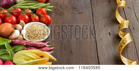 Unpolished Raw Rice And Vegetables