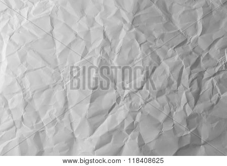 white crumpled paper texture for background .