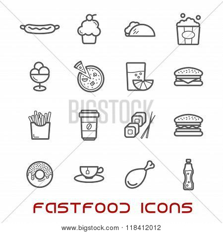 Restaurant and fast food thin line icons